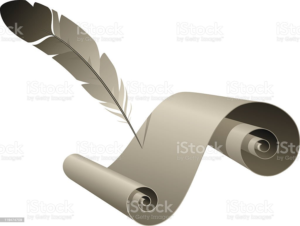 Old paper with feather royalty-free stock vector art