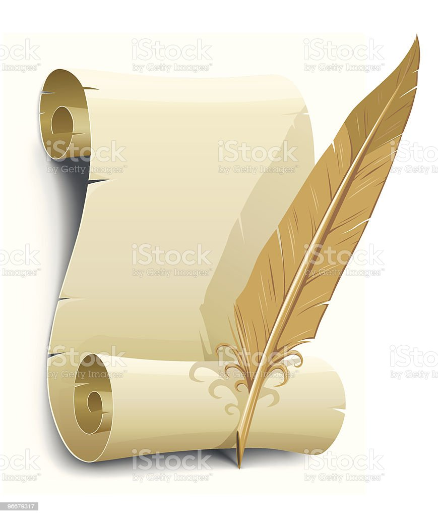 old paper with feather vector illustration royalty-free stock vector art