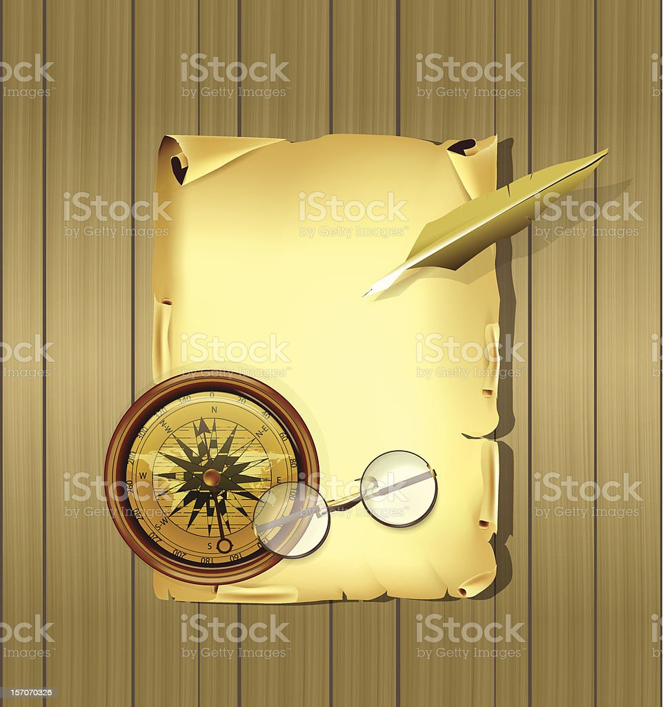Old parchment along with glasses, compas and feather stock photo