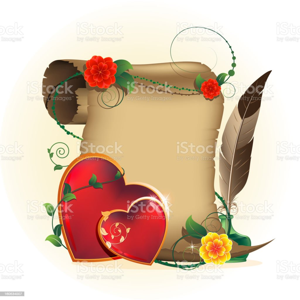 Old parchment and Valentines hearts royalty-free stock vector art