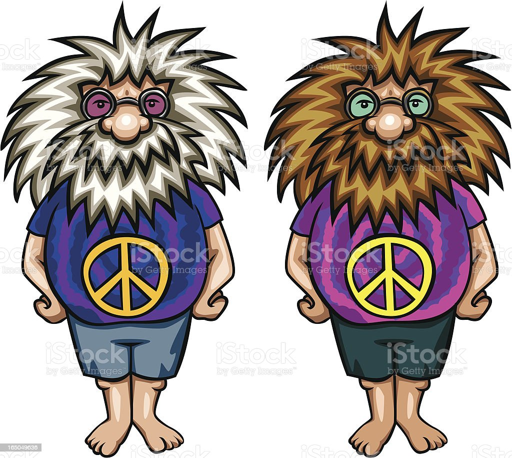 Old Peace-nik vector art illustration