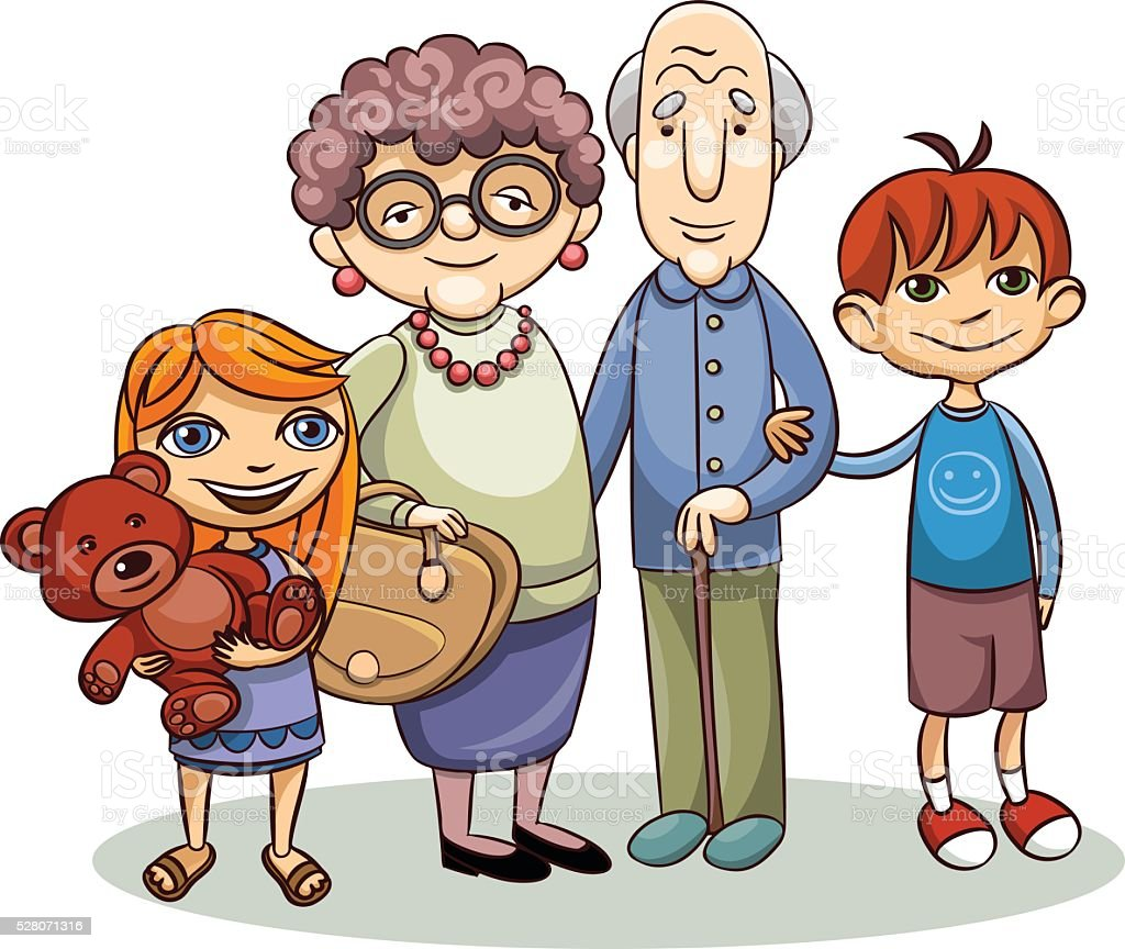 old people and children vector art illustration