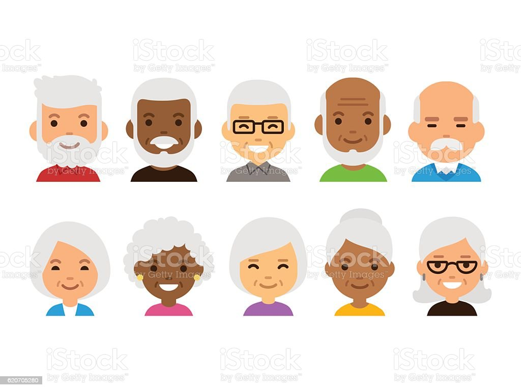Old people avatars vector art illustration