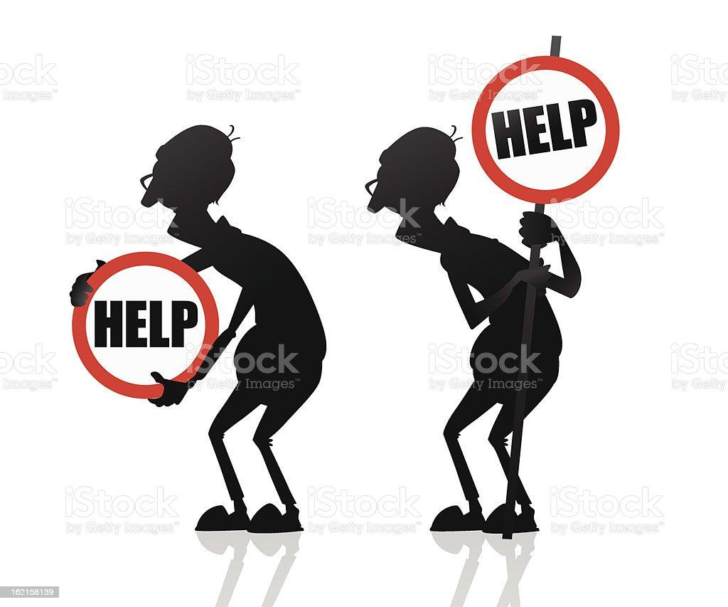 Old people need help vector art illustration