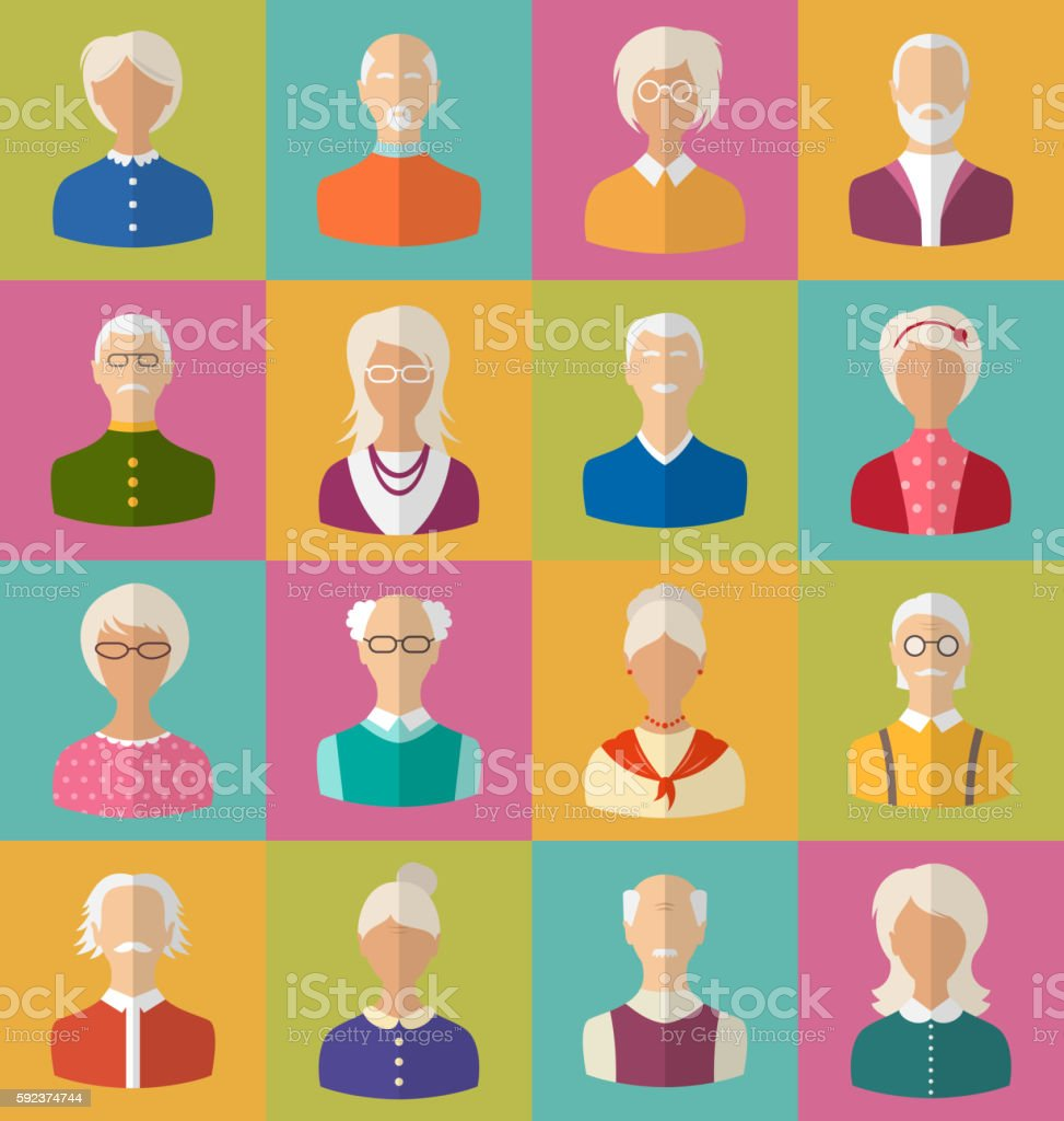 Old People of Faces  Women and Men  Grey-headed vector art illustration