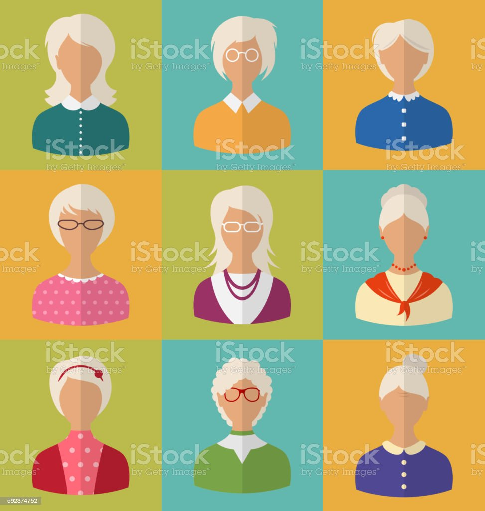 Old People of Faces  Women  Grey-headed vector art illustration