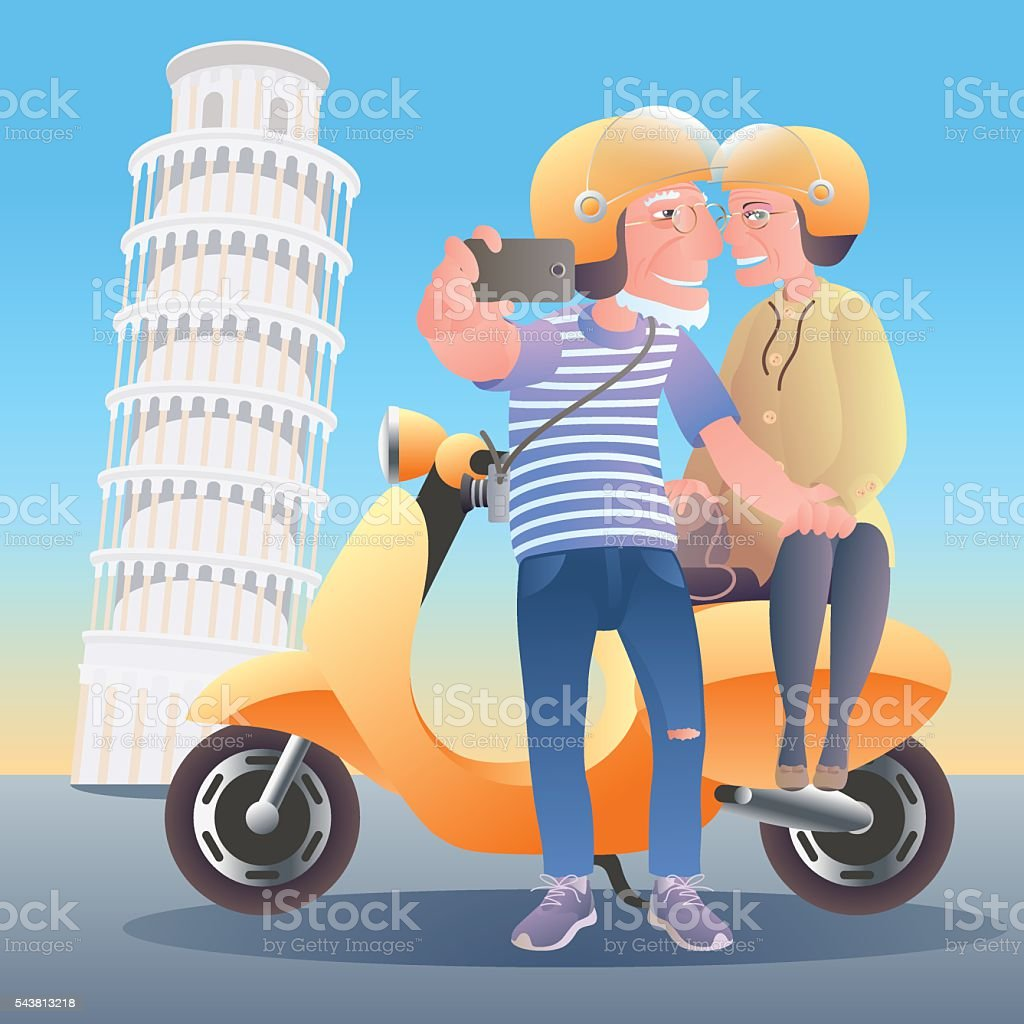 Old people travel to Italy vector art illustration