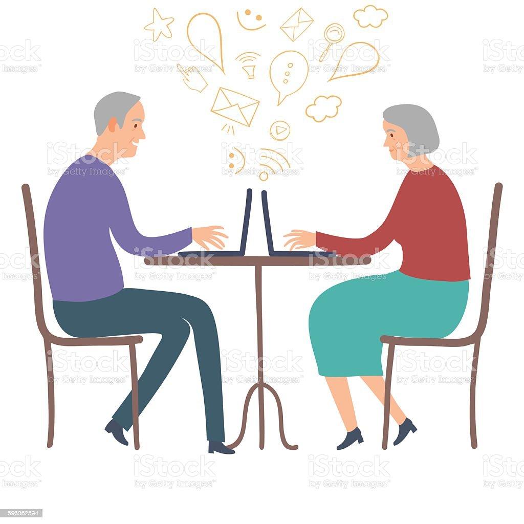 Old people using laptop vector art illustration