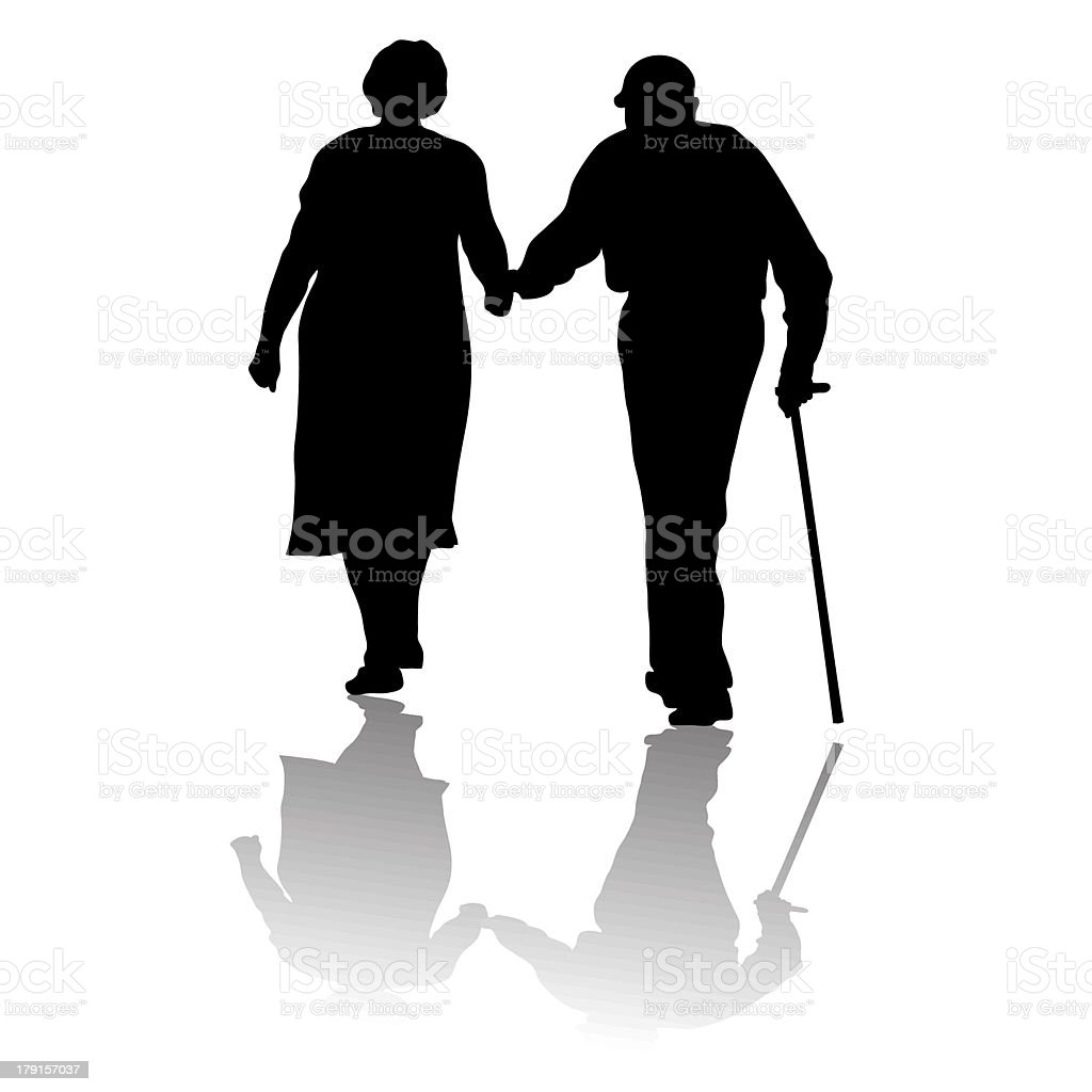old people vector art illustration