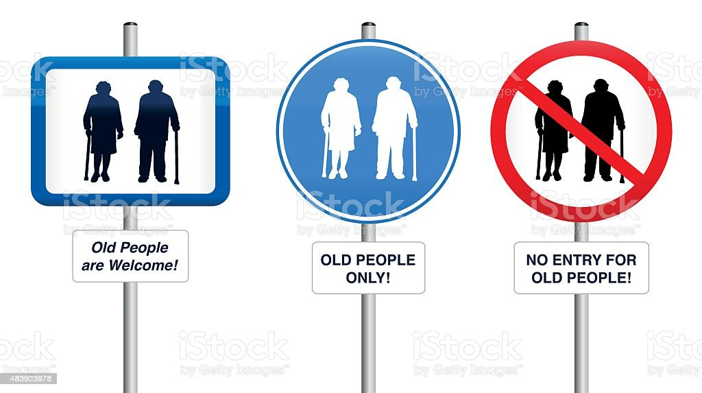 Old People Welcome Road Signs vector art illustration