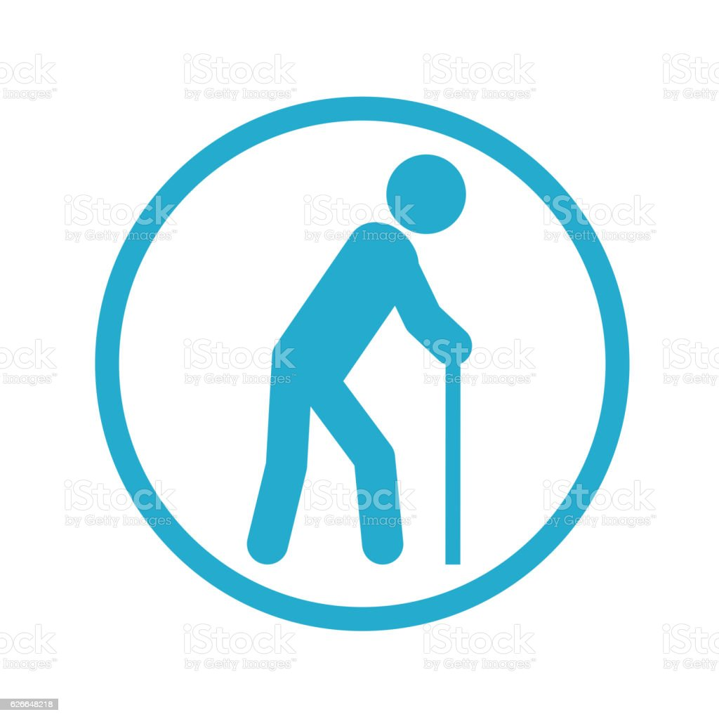 Old person icon vector art illustration