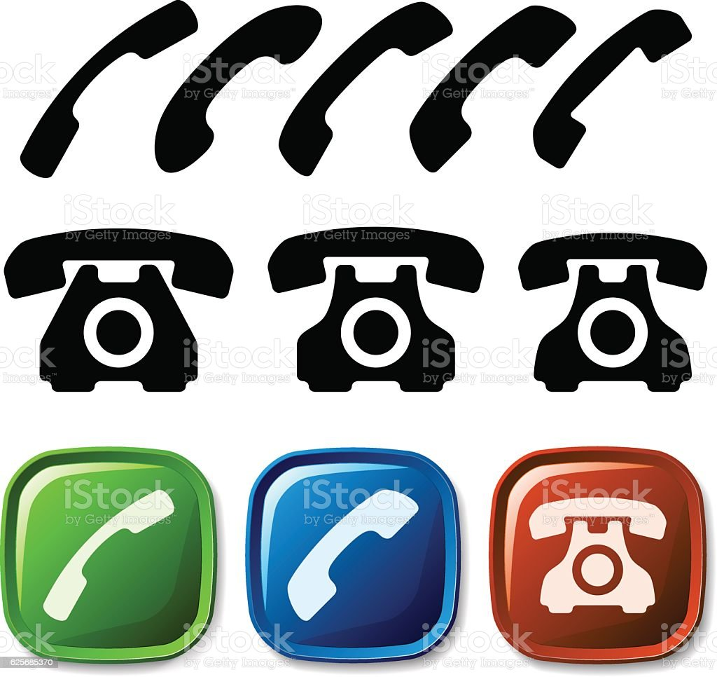 old phone icons vector art illustration