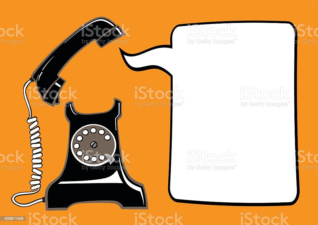 Old phone with speech bubble vector art illustration