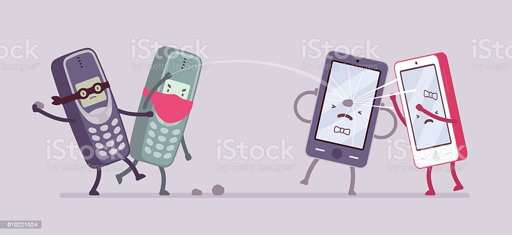 Old phones are attacking new smartphones vector art illustration