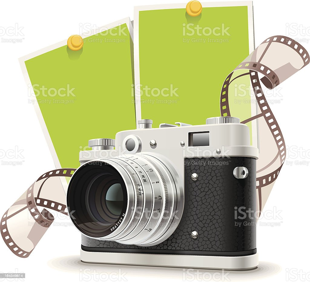 Old photo camera collage royalty-free stock vector art
