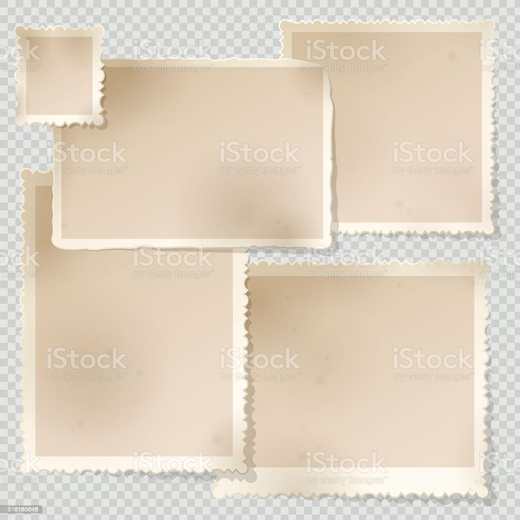 Old Photo Frame template with sharp transparent shadow. vector art illustration
