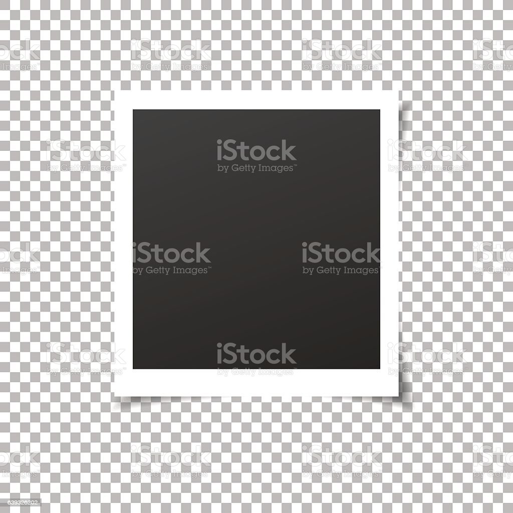 Old photo frame with transparent shadow on background. vector art illustration