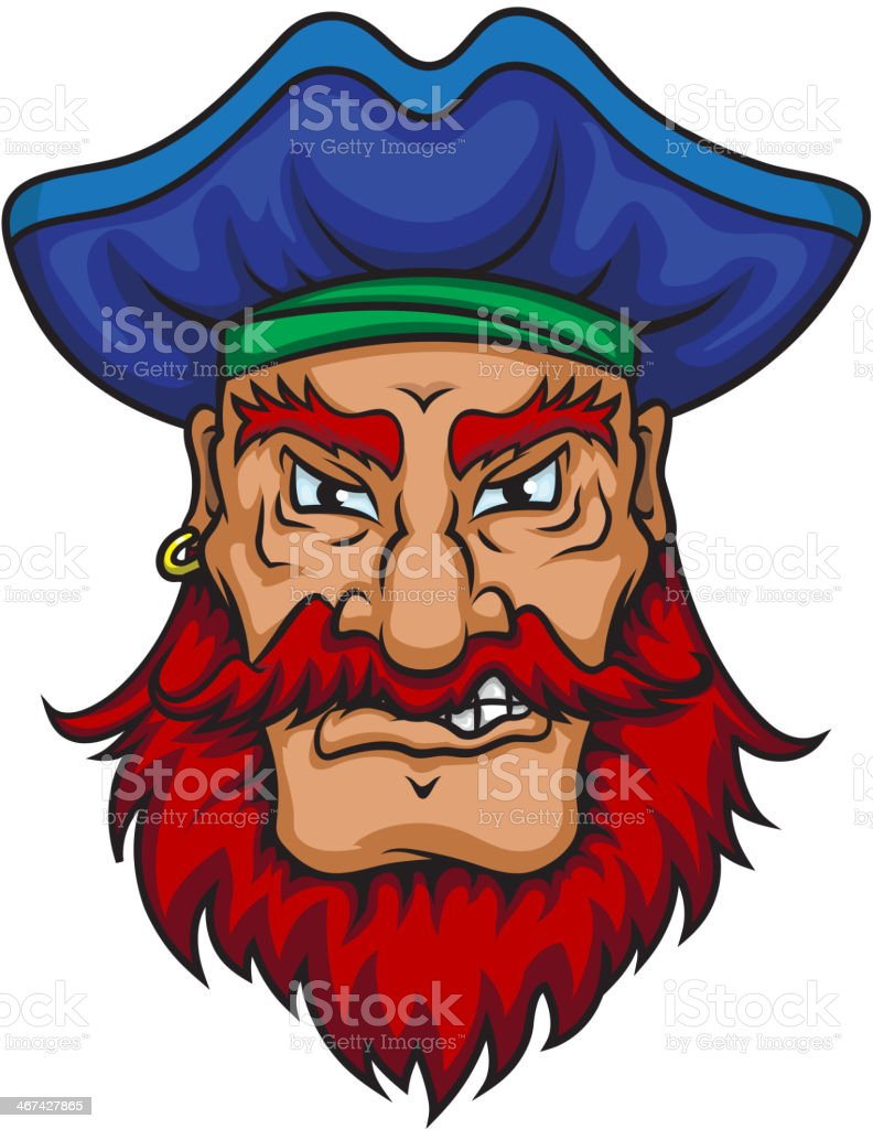 Old pirate captain vector art illustration