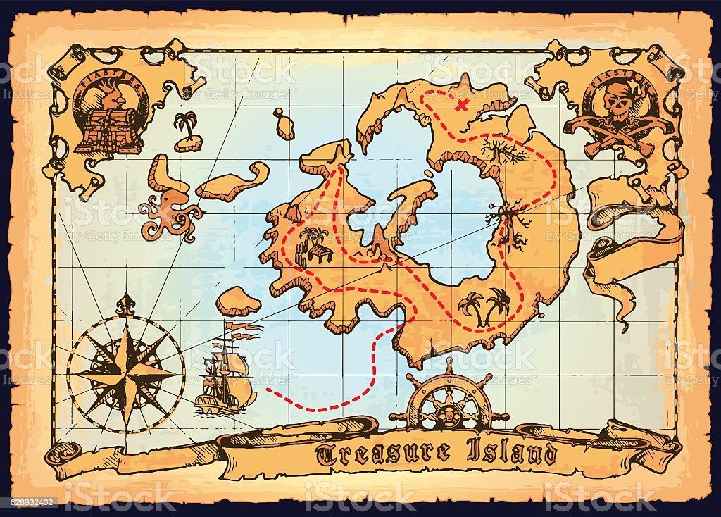 Old pirate map. Skull Island treasure vector map vector art illustration
