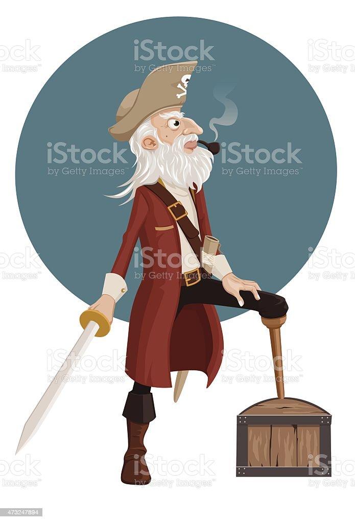 old pirate vector art illustration