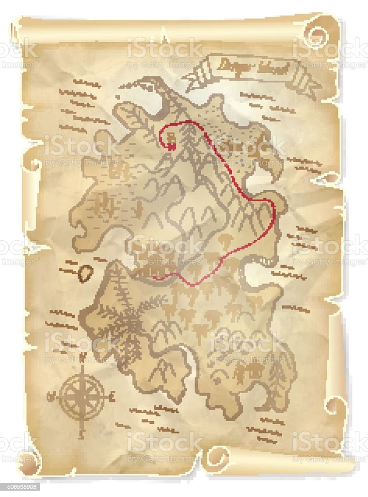 Old pirates treasure island map with marked location vector art illustration