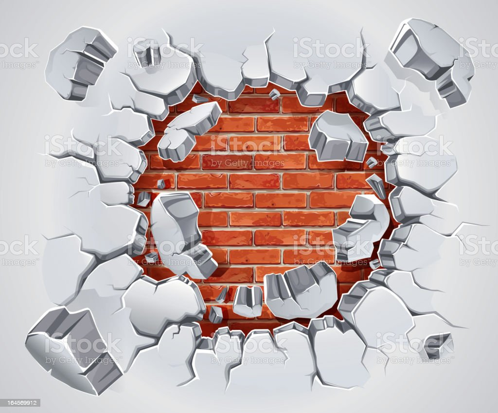 Old Plaster and Red brick wall damage. vector art illustration