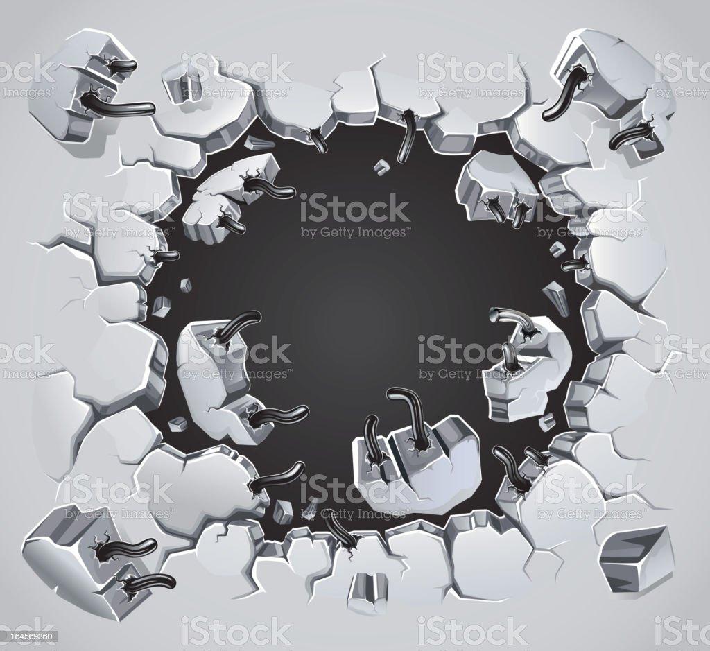Old Plaster wall damage. vector art illustration
