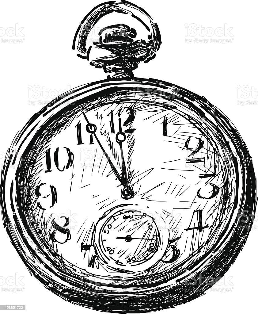 Taschenuhr skizze  Alte Taschenuhr Vektor Illustration 458851723 | iStock