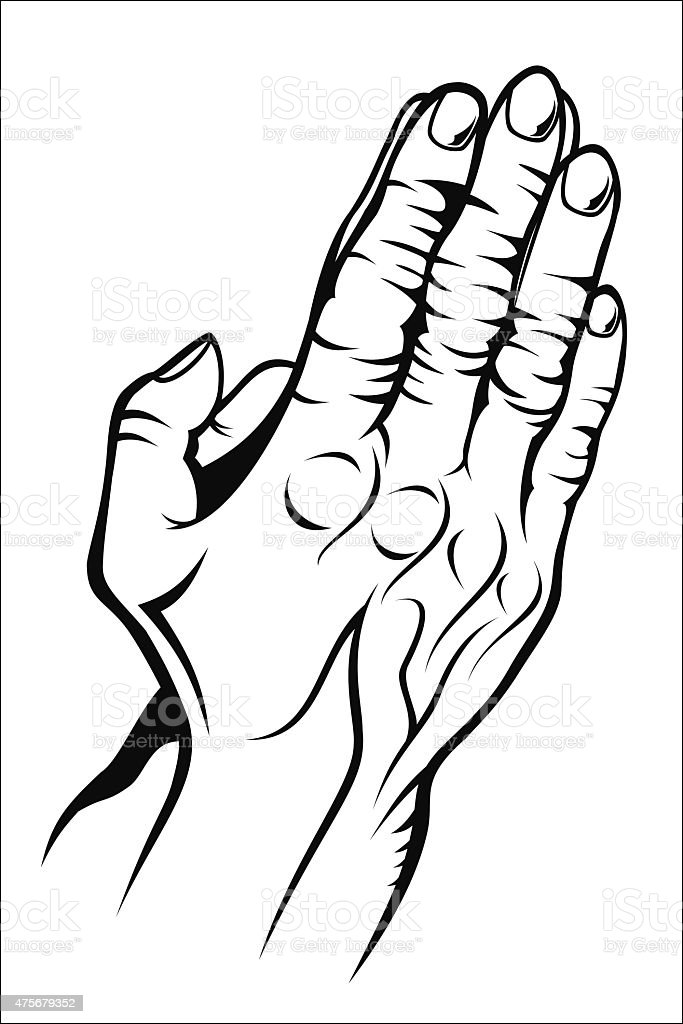 Old prying hands royalty-free stock vector art