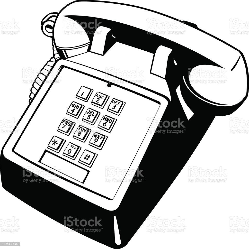 Old Push-Button Telephone vector art illustration