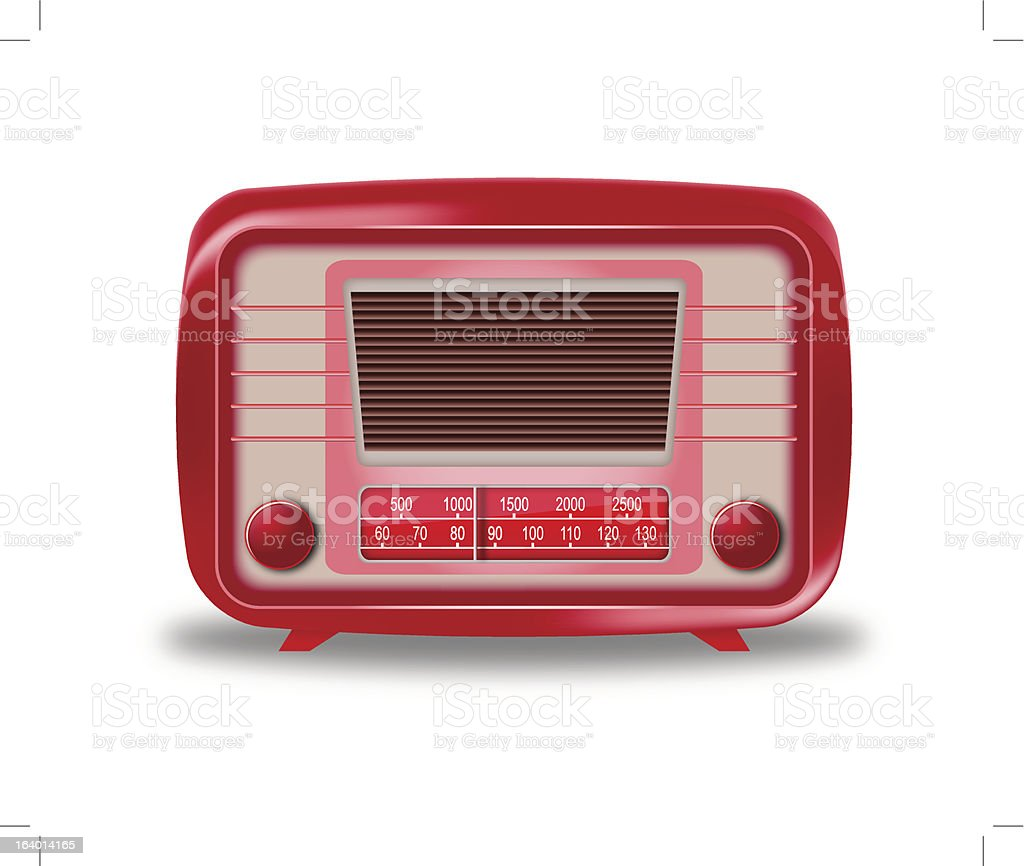 Old red radio on white background royalty-free stock vector art