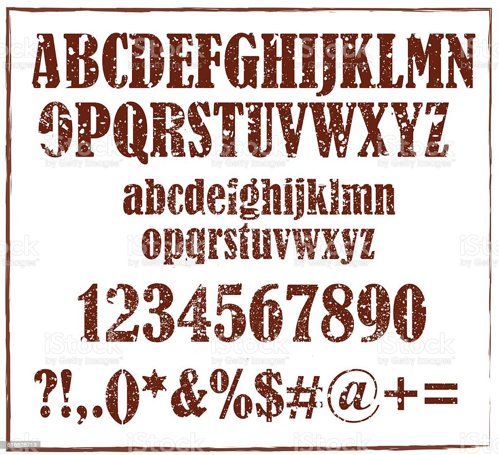 Old Retro Rubber Stamp Alphabet With Numbers And Signs