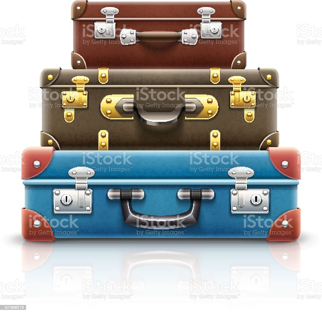 Old retro vintage suitcases bags pile for travel eps10 vector vector art illustration