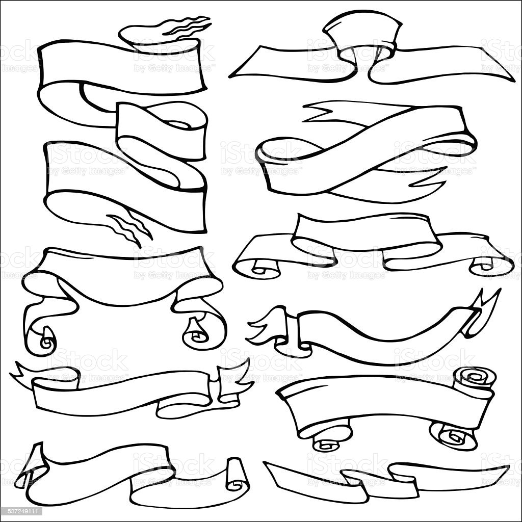 Old Ribbon Banner Set Hand Drawing Outline Stock Vector