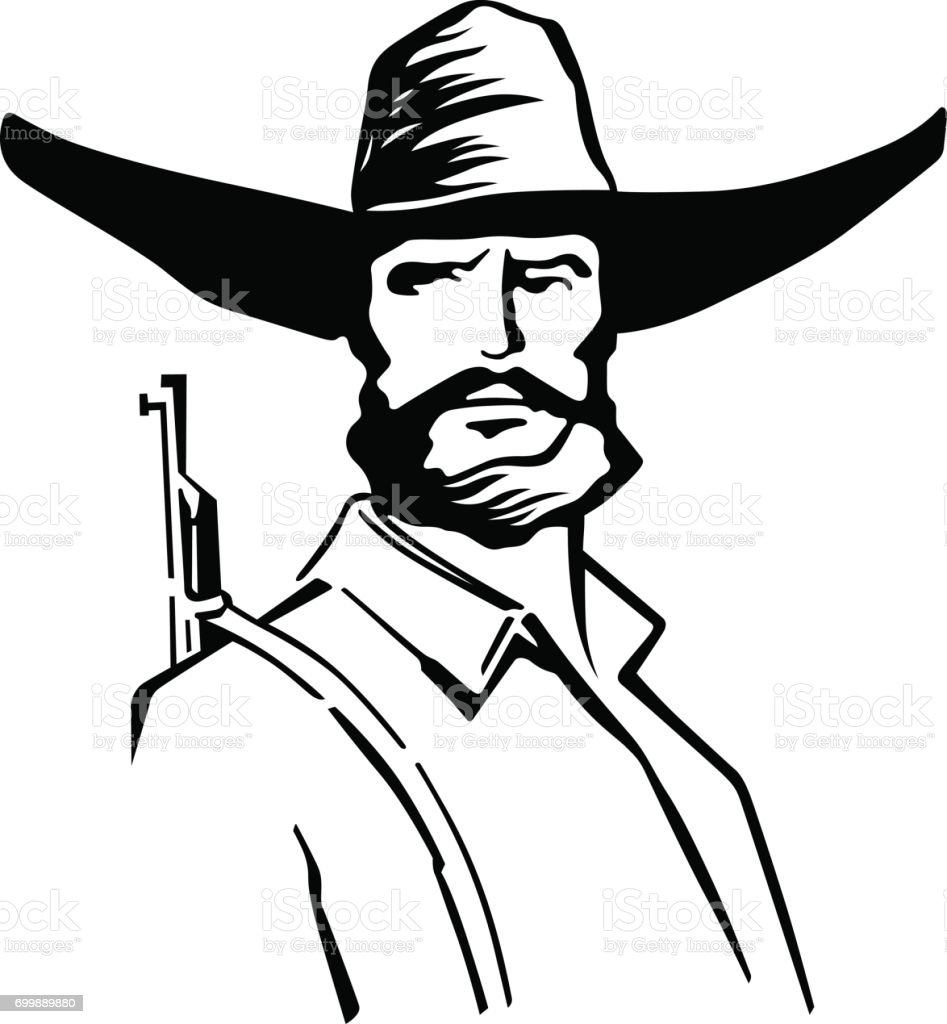 Old rough man with rifle vector art illustration