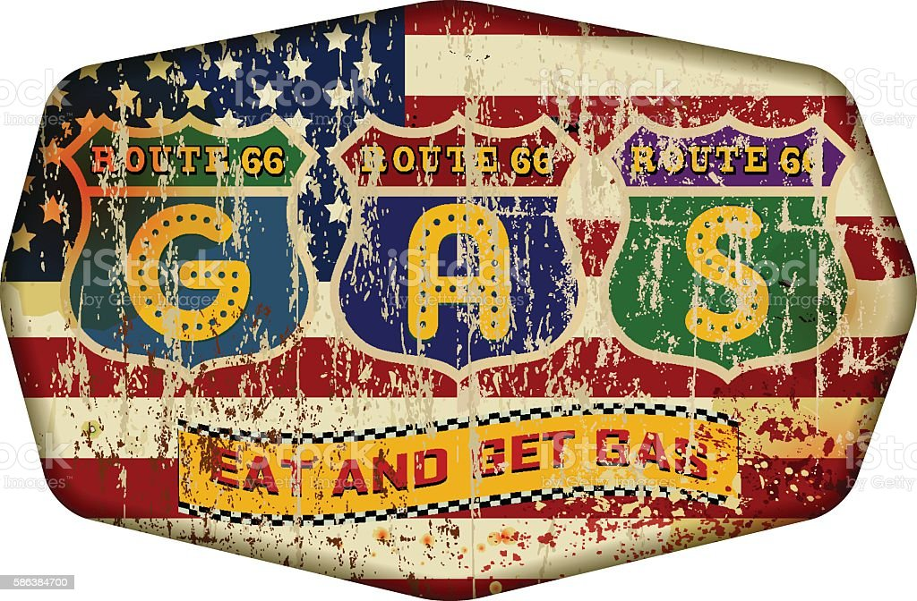 old route 66 gas station sign, vector art illustration