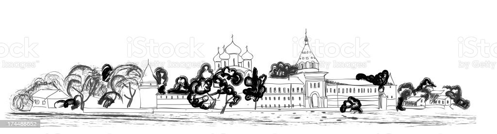 Old russian city landscape. royalty-free stock vector art