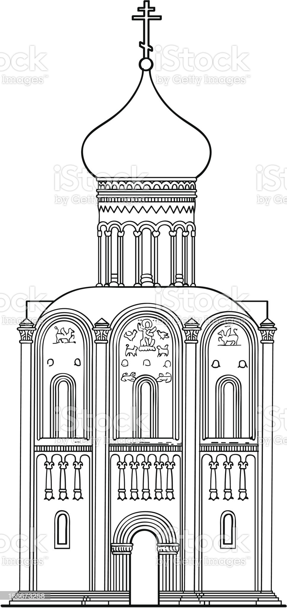 old Russian Orthodox church of the 12th century. royalty-free stock vector art