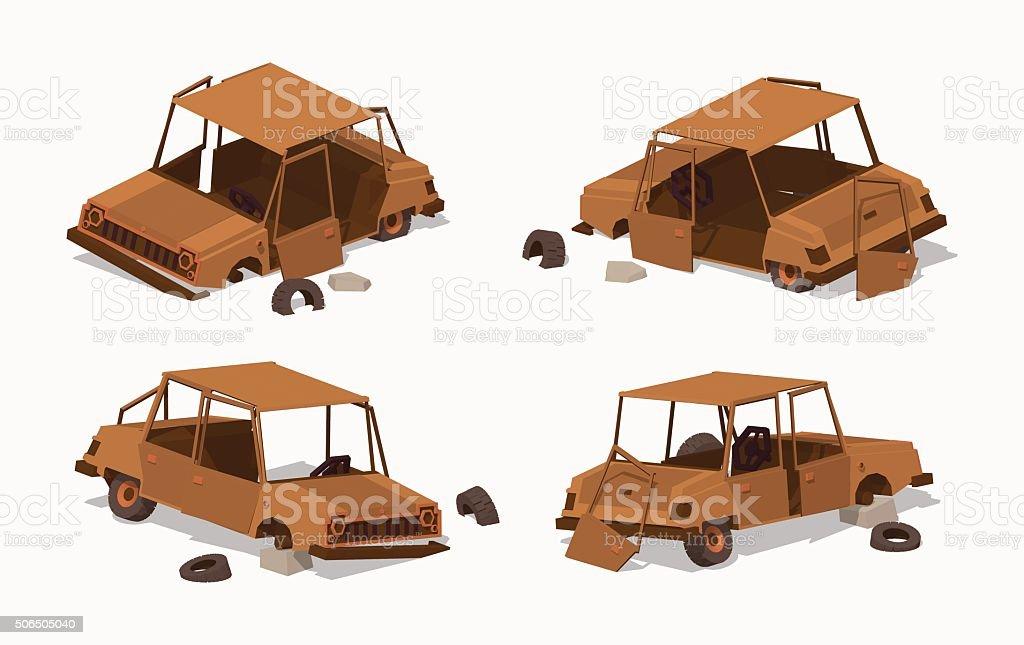 Old rusty car vector art illustration