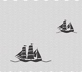 Old sailing in the sea, vector illustrator