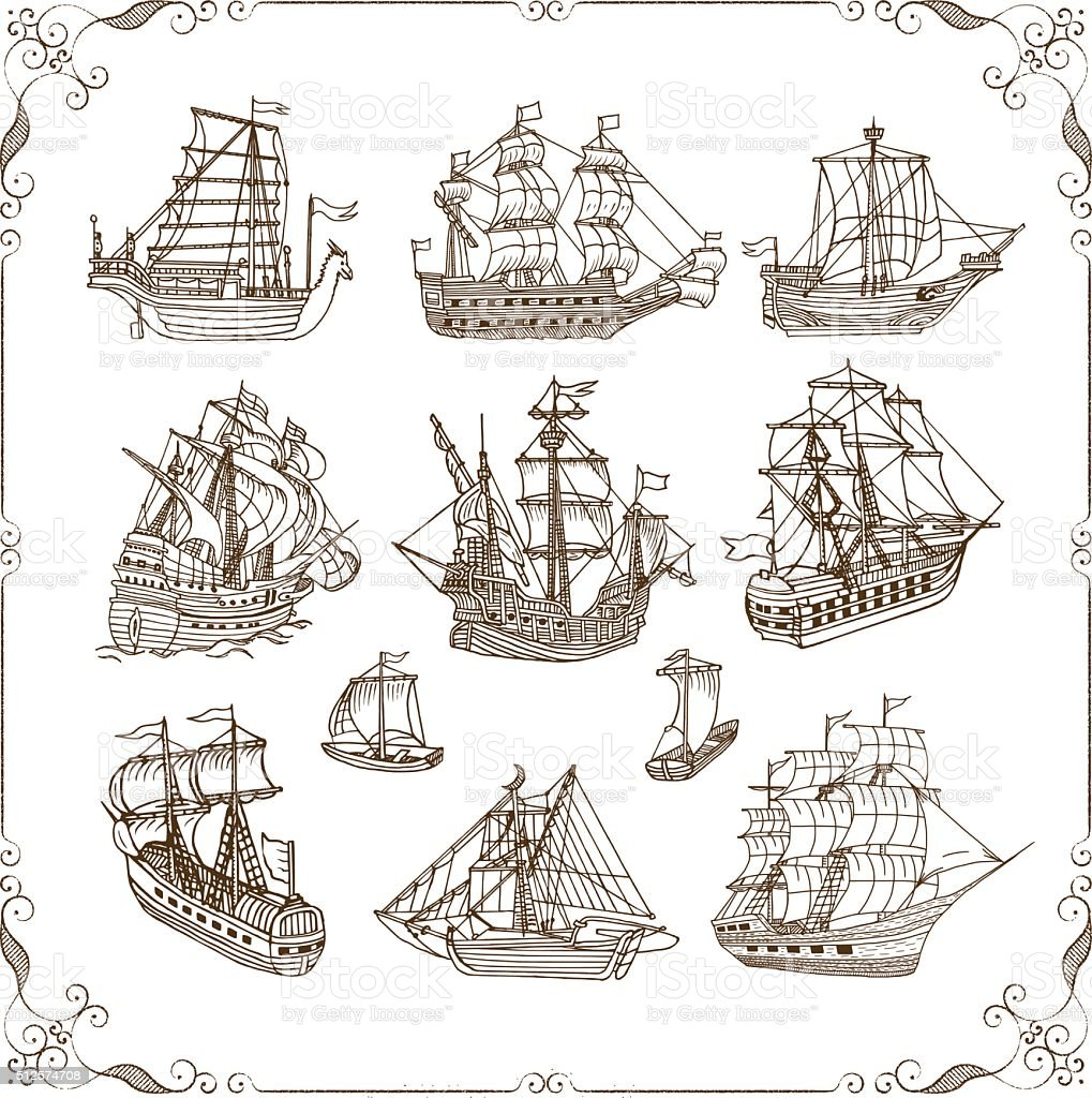 Old Sailing Ships Doodles Set vector art illustration