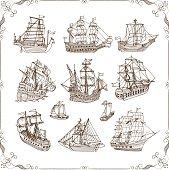 Old Sailing Ships Doodles Set