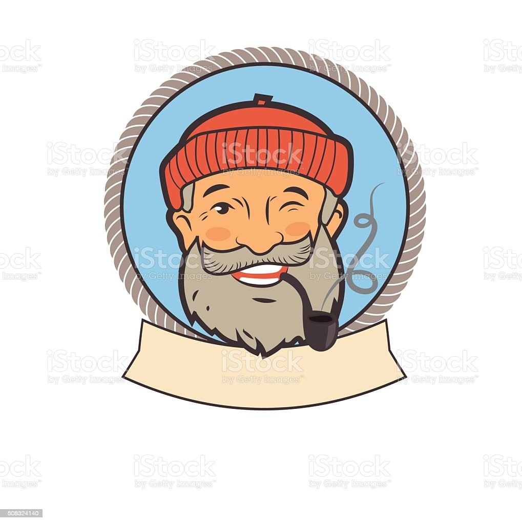 Sailor stock photos illustrations and vector art - Old Sailor With Pipe Portrait Character Royalty Free Stock Vector Art