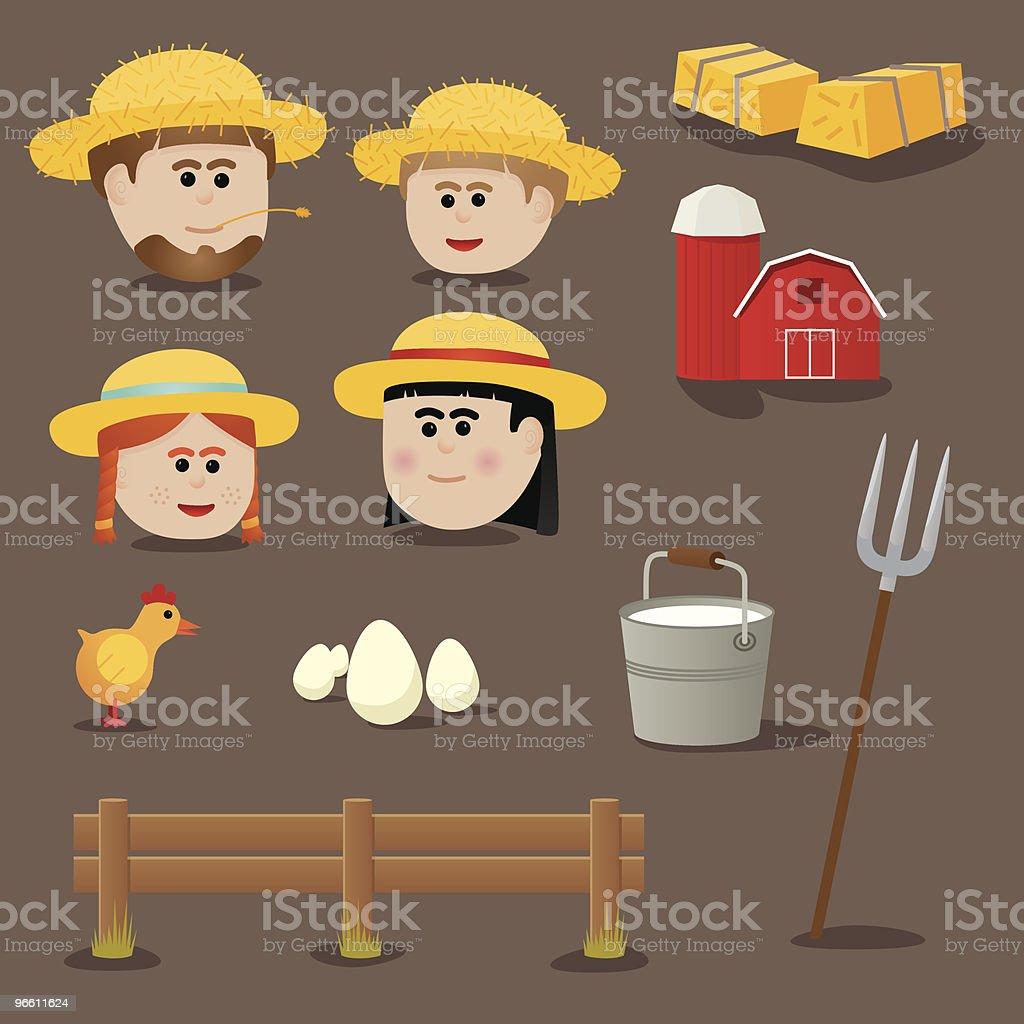 Old school farming icons vector art illustration