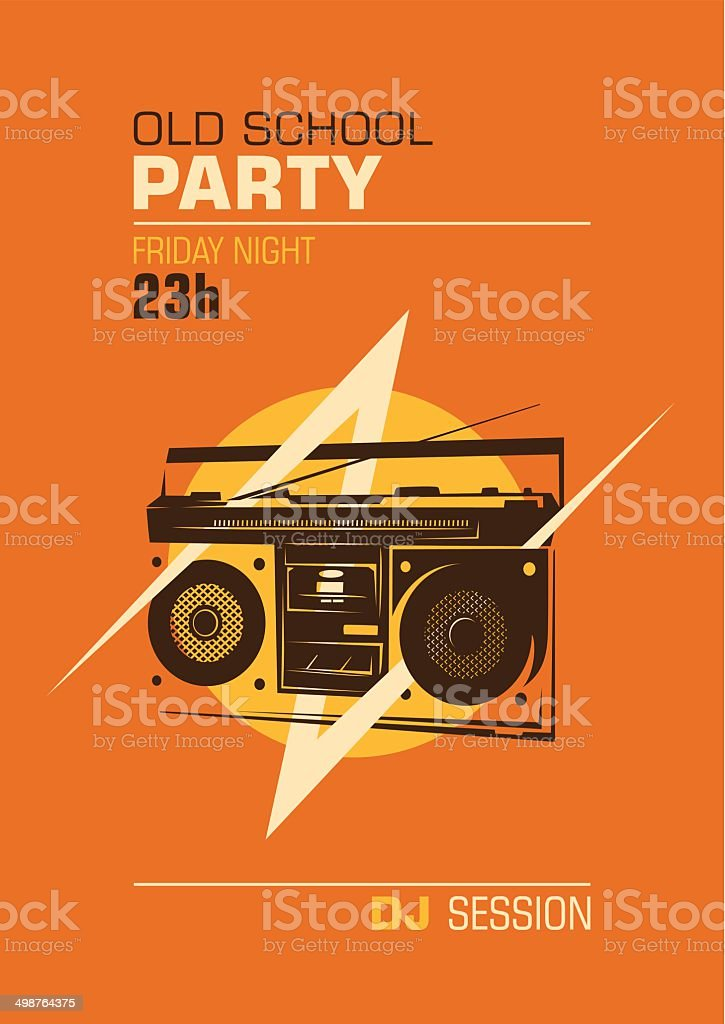 Old school party poster. vector art illustration