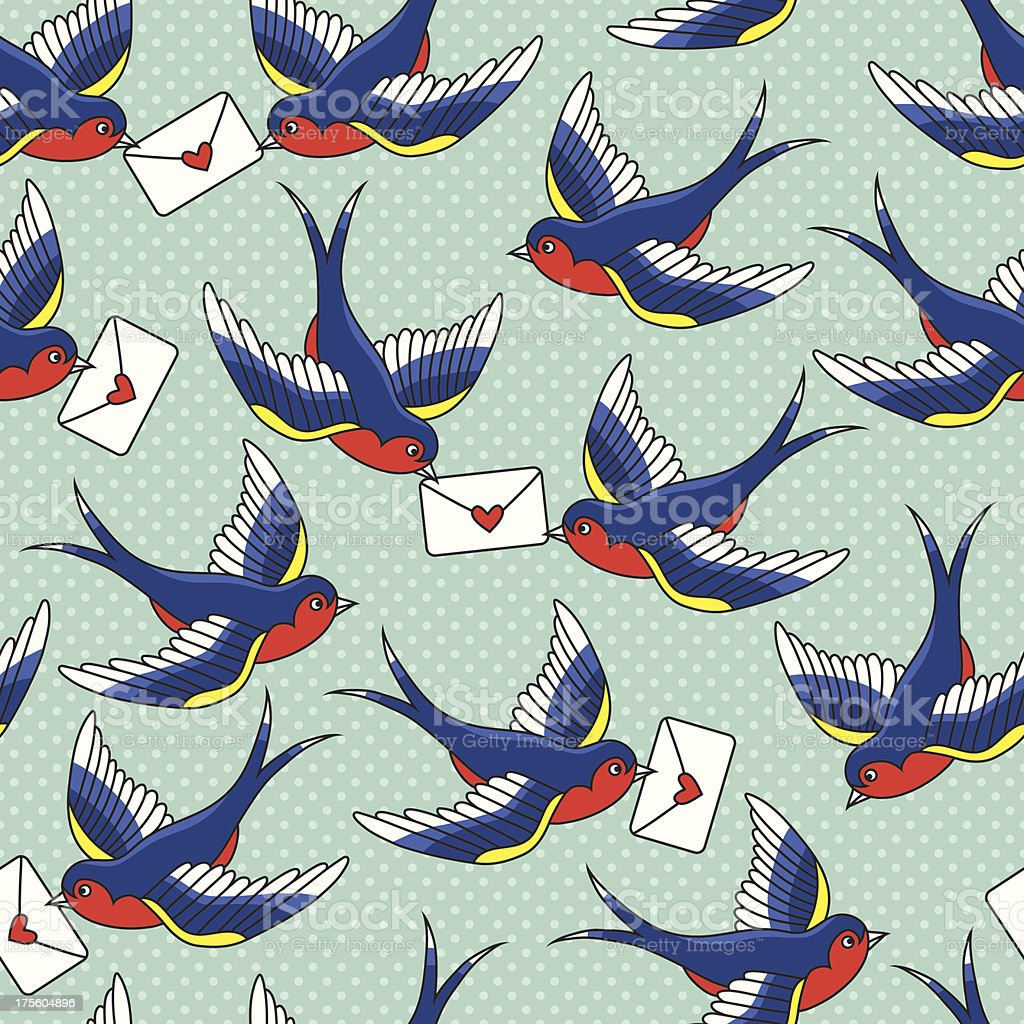 old school pattern with birds and letters royalty-free stock vector art