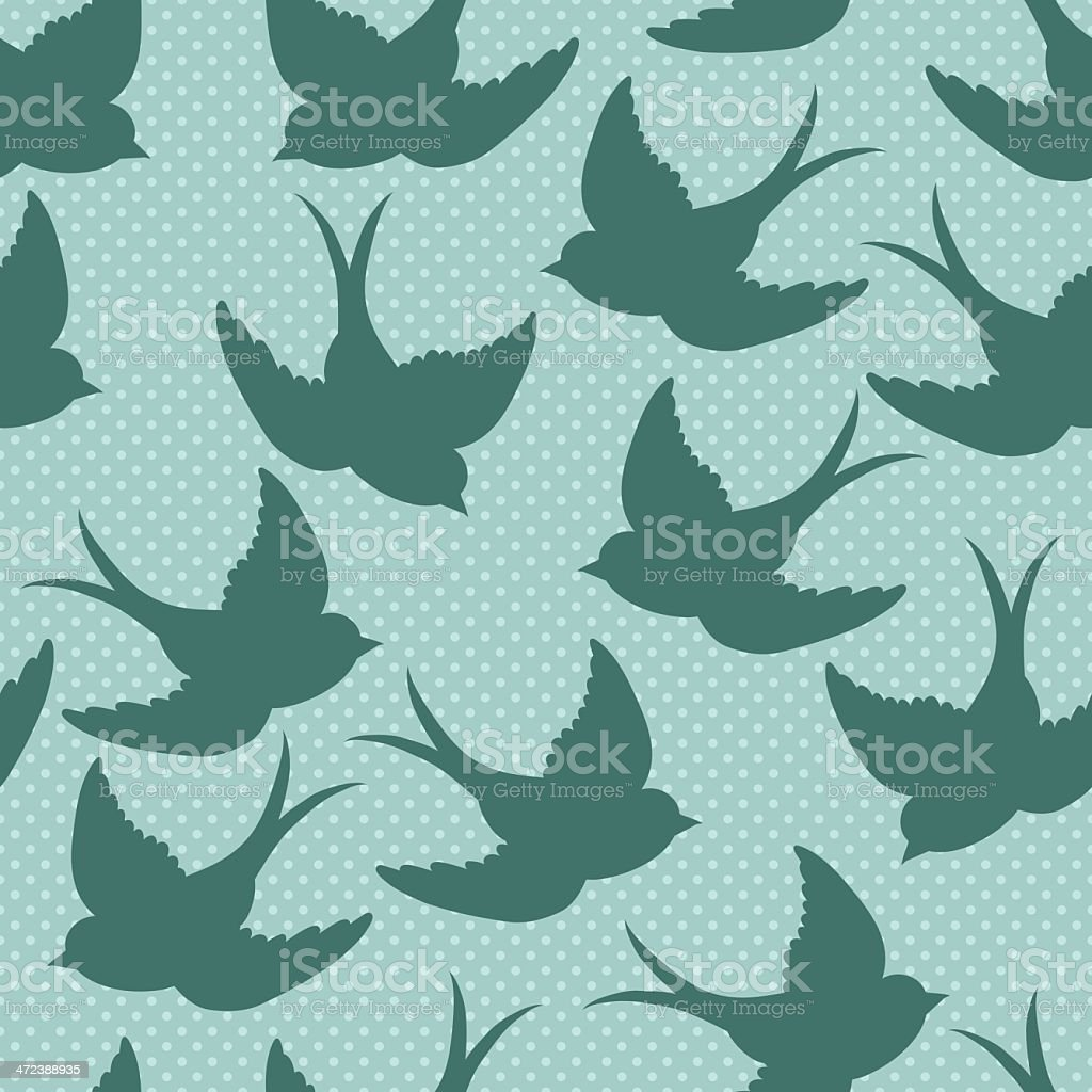 old school pattern with birds vector art illustration