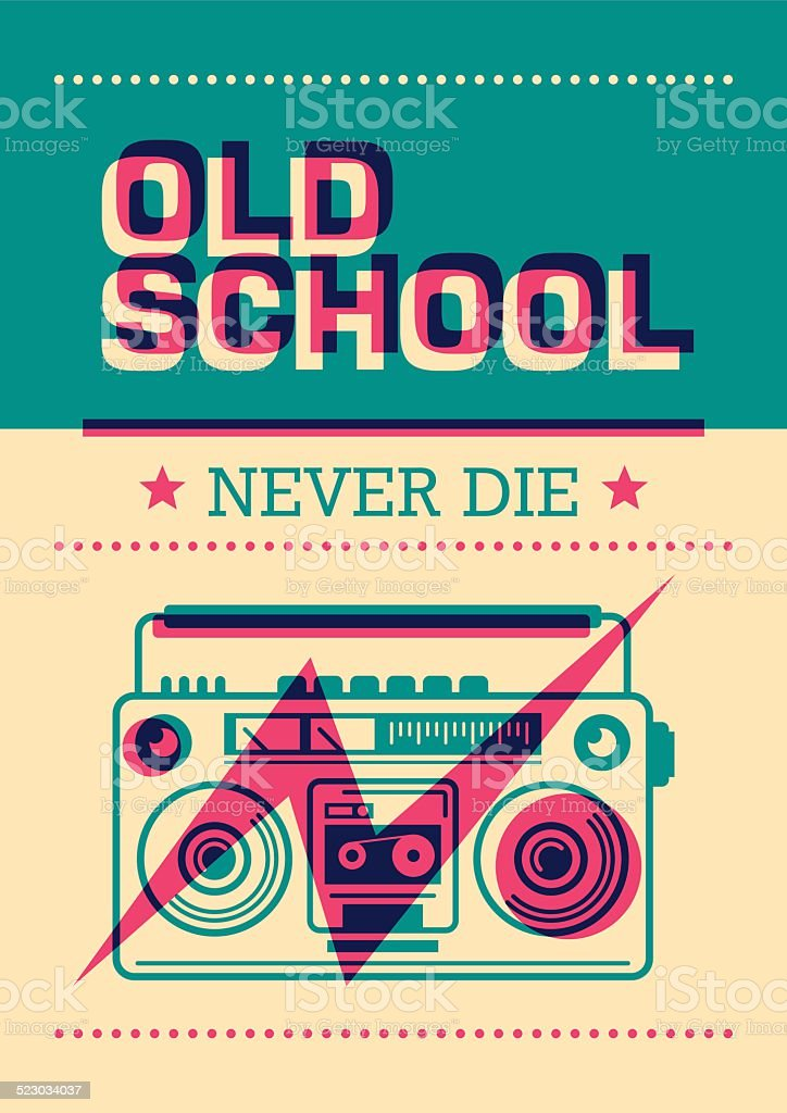 Old school poster with ghetto blaster. vector art illustration