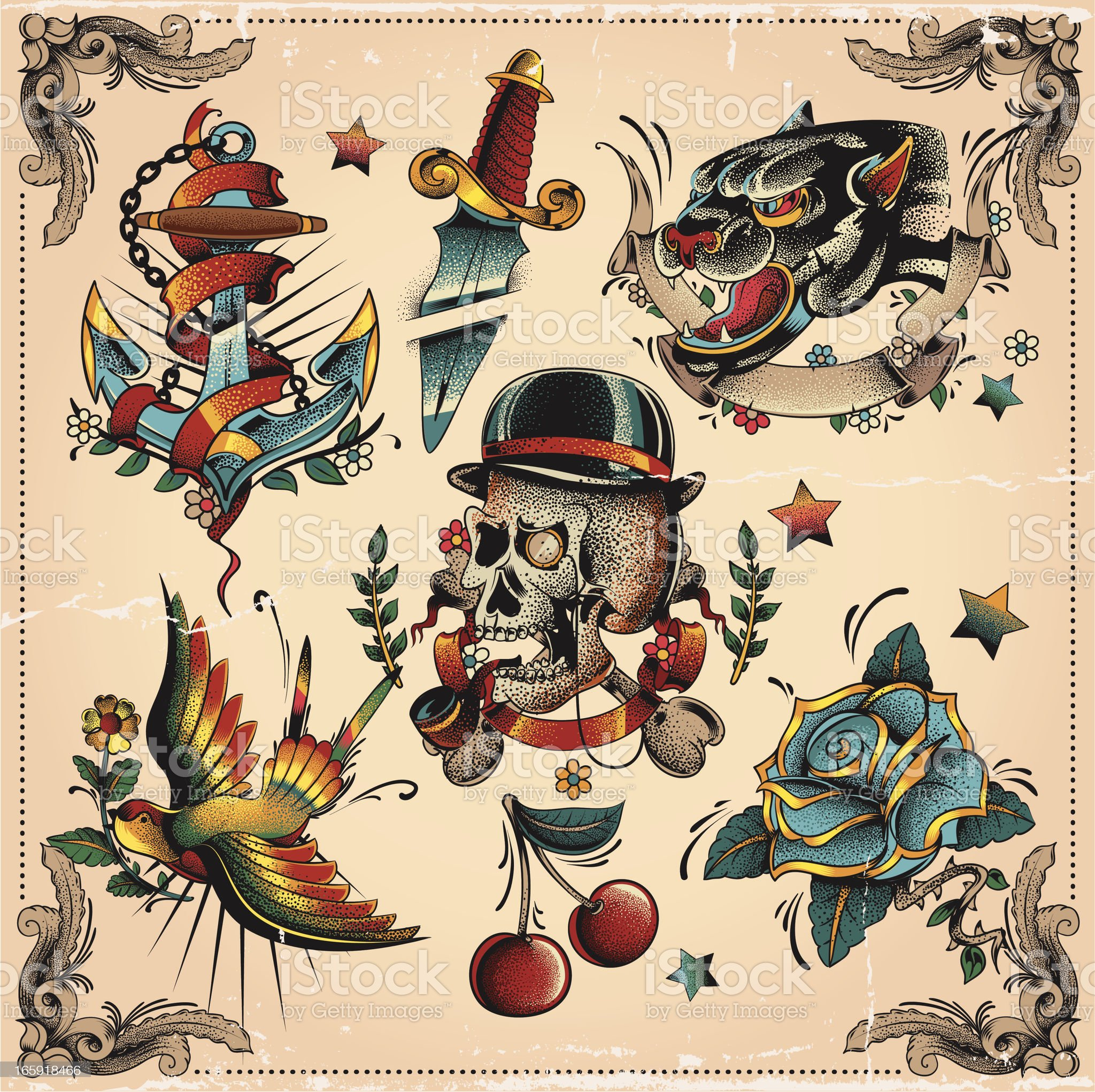 old school tattoo flash royalty-free stock vector art
