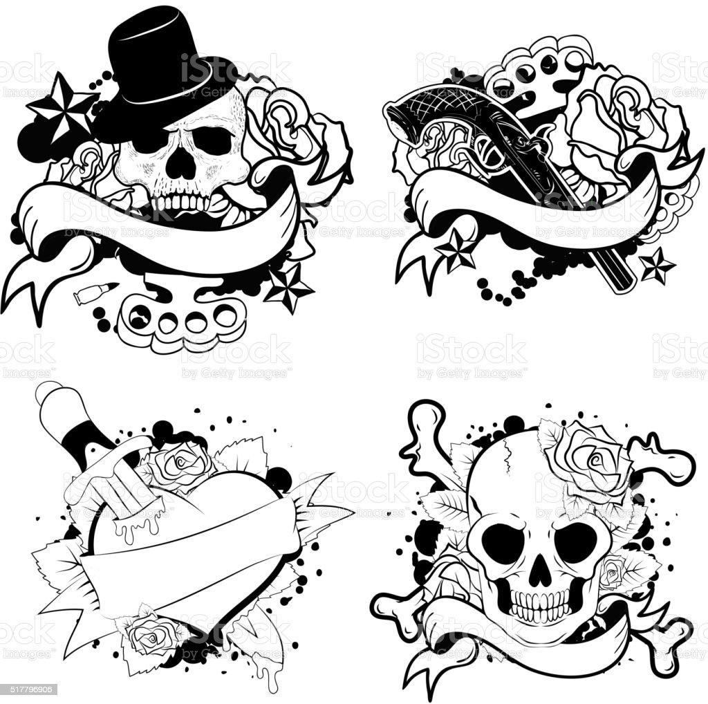 old school tattoo set vector art illustration